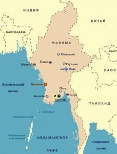 Мьянма на карте
