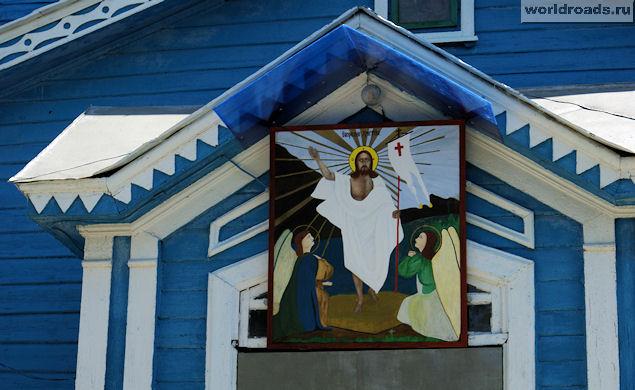 Икона над входом Екатеринского храма