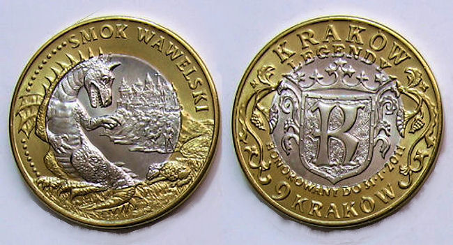 Вавельский дракон на сувенирной монете номиналом 9 краков